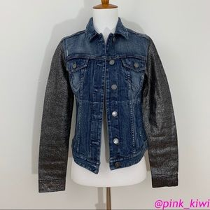 Express Crackled Metallic Sleeve Denim Jacket